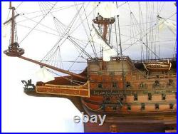 Model Ship Traditional Antique Hms Sovereign Of The Seas Monumental Brass