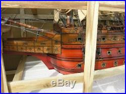 Model Ship Traditional Antique Hms Sovereign Of The Seas Monumental Rosew