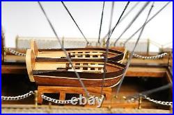 Model Ship Traditional Antique Hms Victory Medium Solid Wood Base Brass