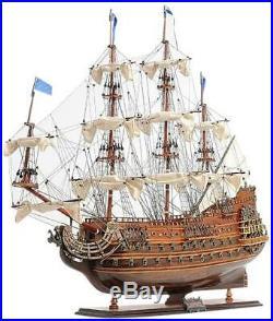 Model Ship Traditional Antique Soleil Royal Boats Sailing Wood Base Linen