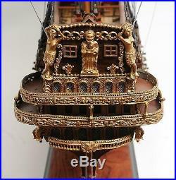 Model Ship Traditional Antique St Espirit Boats Sailing Linen Wood Base W