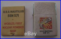 Nos Vintage 1977 Uss Nautilus Ssn 571 Military Nuclear Submarine Zippo Lighter