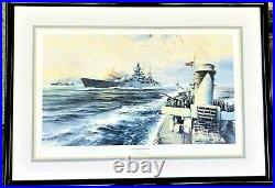 OFFSHORE BOMBARDMENT by Robert Taylor, Rare WWII Naval Print, $199.00