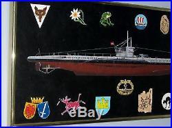 ORIGINAL FRAMED MARITIME ART TYPE VII C U-BOAT with 12 Gray Wolf Emblems