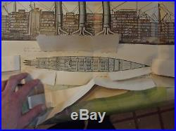 Old Poster with Very Rare System 1922 Passenger Ship Paris France Compagnie