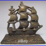 Old Solid Brass USS MAHAN Figural Ship Doorstop Bookend nicely detailed artwork