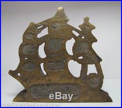 Old Solid Brass USS MAHAN Ship Bookend Doorstop Nautical Decorative Art Statue