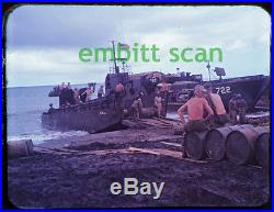 Orig. Slide, Navy Landing Craft Tank LCT-722 at Lingayen Philippines, 1945 WWII