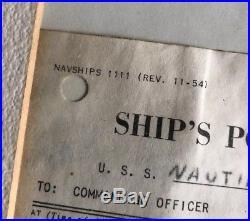 Orig USS NAUTILUS submarine Photograph + Arctic Position Log US NAVY signed