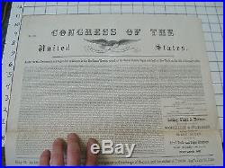 Original 1840 UNITED STATES OF AMERICA Broadside JOIN A CREW PAPER double sided