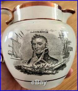 Original WAR OF 1812 DECATOR + LAWRENCE Staffordshire Jug superior example