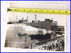 Oscar S Straus Ship Launching Photo Delta Shipbuilding Photograph 1943 Liberty