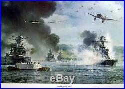Pearl Harbor Dec 7 1941 USS Nevada Under Way R G Smith 19 x 25 Color Print