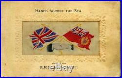 R. M. S. Missanabie Silk Woven Postcard Hands Across The Sea Rare Refmacd210