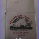 RARE VINTAGE 1960 U. S. S. FREMONT APA 44 MILITARY SHIP ADVERTISING ZIPPO LIGHTER