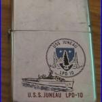 RARE VINTAGE 1980 U. S. S. JUNEAU LPD-10 MILITARY SHIP ADVERTISING ZIPPO LIGHTER