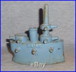 REMEMBER THE MAINE CAST IRON COIN BANK Spanish American War Naval BattleShip