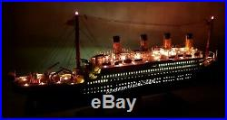 RMS TITANIC Ocean Liner 32 With Lights Handcrafted Wooden Model NEW