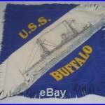 Rare Circa 1914 USS Buffalo Felt Pillow Cover Banner Alaska Radio Expedition