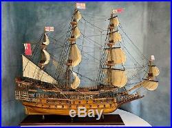 Rare HMS Sovereign of the Seas Wooden Tall Ship Model 45 Fully Built Warship