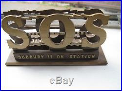 Rare SS Sudbury II on Station Tug Boat Mariner Brass Desk Document Holder