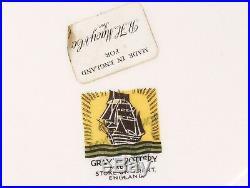 SHIP CAROLINE Gray's Pottery TRENT ON STOKE England Large Gilt PLATE Marks Label