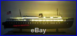 SS Badger Passenger & Vehicle Ferry With Lights 41 Handcrafted Wooden Model NEW