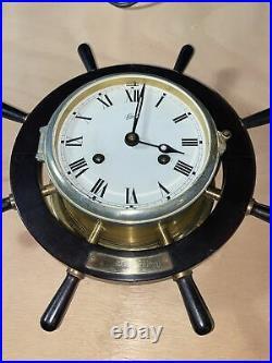 Shatz Clock USS REPOSE AH 16 Ships Wheel clock Dated 1969-70