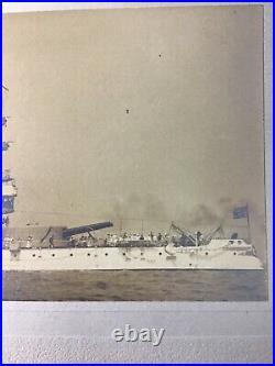 Spanish American War Uss Indiana (bb-1) United States Battleship Albumen Photo