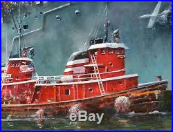 Tony Fachet Original Oil-USS Independence Aircraft Carrier Tugboat 24x30