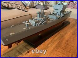 U. S Navy USS Long Beach CGN-09 Wood 34 Model Ship Assembled 1250