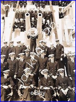 USN Cruiser USS Memphis CL-13 Crew Black n White Photo Warship
