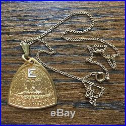 USS Arizona 1924 E for effort US Navy award necklace pendant fob Pearl Harbor