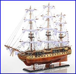 USS Constitution Copper Bottom Old Ironsides Tall Ship Assembled Wooden Model