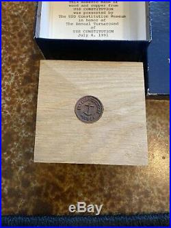 USS Constitution Teak Wood Relic And Copper Coin Museum Authentic