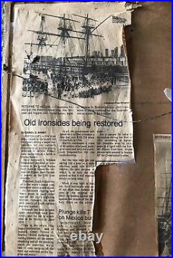 USS Constitution Vintage Photo Piece Wood from Old Ironsides Newspaper Articles