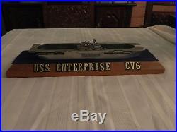 USS Enterprise CV6 Rare Cast Aluminum Model/Ashtray with Wood Display Base