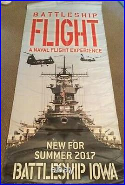 USS IOWA Battleship Very Large Banner 2 Sided 35x96 Very Nice Heavy Vinyl