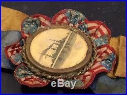 USS Kearsarge Spanish American War Pinback Pin Ribbon Medal Navy Battleship n1