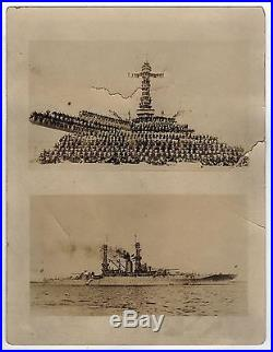 USS MISSISSIPPI Photograph REAL PHOTO Sailors NAVY USN Naval WWII Military SHIP