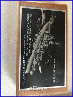 USS New Jersey BB-62 WWII Battleship Teak Deck Wood Plank Owner Presentation