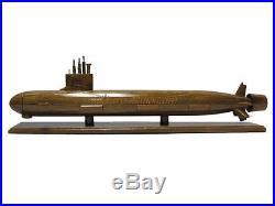 USS Virginia SSN-774 Navy Nuclear Class Submarine Mahogany Wood Wooden Sub Model