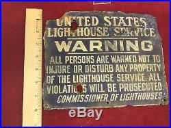 United States Lighthouse Service Original Porcelain Sign Astoria Oregon