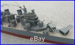 VINTAGE 1950's HANDMADE USS NORTH CAROLINA CLASS MODEL BATTLESHIP TRENCH ART