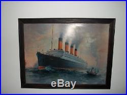 VINTAGE Cunard Line Aquatania Ocean Liner Tin Painting Litho Sign ORIGINAL A80