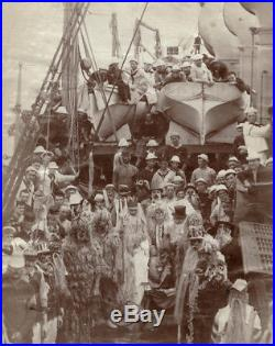 Vintage 1890-1900 US Navy ship Crossing the Equator Celabration