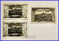 Vintage 1940's postcards USS PIRAHNA USS TORO Season's Greetings Navy