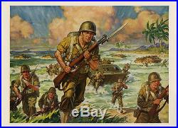 Vintage 1940s Patriotic Militaria World War II WWII Print Semper Fidelis Marines