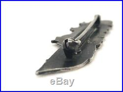 Vintage 1940s WWII Navy Higgins PT Topedo Boat STERLING SILVER Badge Pin 2.5