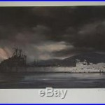 Vintage 1974 R. G. Smith SIGNED 16 x 19 Military Art Print USS Windham County